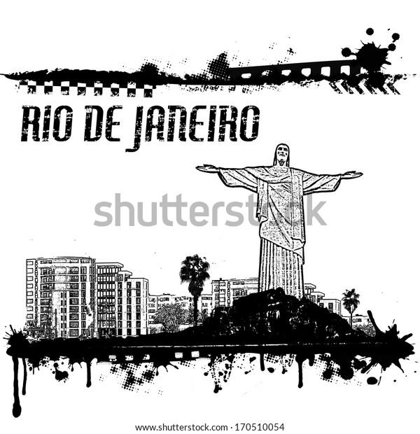 Grunge Rio de Janeiro cityscape background on white, vector illustration