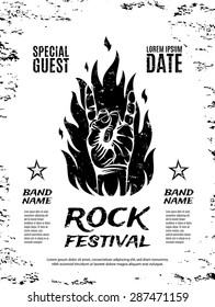 Grunge, rock festival poster, with rock n roll sign and fire. Vector illustration.4