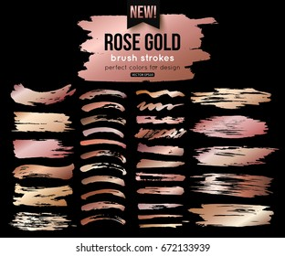 Grunge rose gold ink brush strokes vector collection