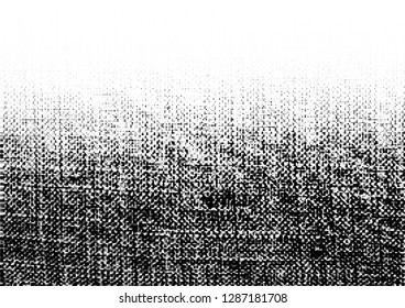 Grunge rough halftone texture. Crumpled burlap. Canvas grunge effect. Gradient textile background using halftone circle dots pattern. Vector  illustration