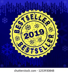 Grunge round Bestseller rosette stamp seal for 2019 winter. Vector Bestseller rubber watermark imitation for New Year and Christmas purposes.