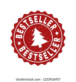 Grunge round Bestseller stamp seal with fir-tree. Vector Bestseller rubber seal imitation for New Year and Christmas purposes. Red colored rosette with scratced style.
