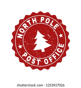 Grunge round North Pole Post Office stamp seal with fir-tree. Vector North Pole Post Office rubber seal imitation for New Year and Christmas purposes. Red colored rosette with grunge style.