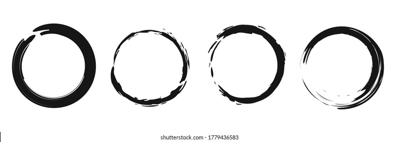 Grunge round shape vector banner. Brush circle collection on white background.