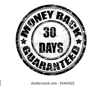 a grunge rubber ink stamp on white background: money back guaranteed 30 days
