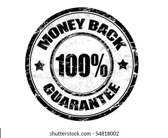 Grunge rubber ink stamp with the text  MONEY BACK 100% GUARANTEE