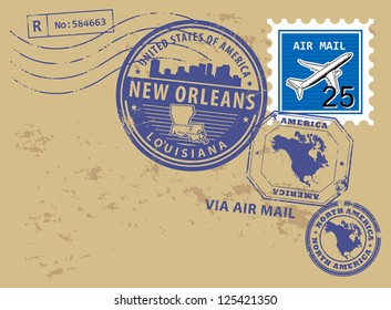 Grunge rubber post stamps set with name of Louisiana, New Orleans, vector illustration