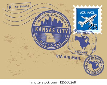 Grunge rubber post stamps set with name of Missouri, Kansas City, vector illustration