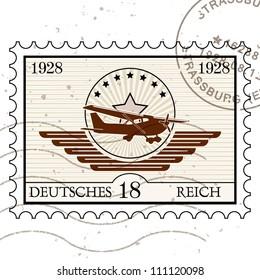 Grunge rubber stamp with airplane  / Vector grunge air mail / Stamp design
