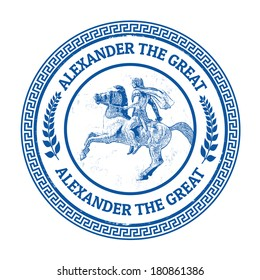 Grunge rubber stamp with Alexander the Great riding his horse statue at Thessaloniki Greece