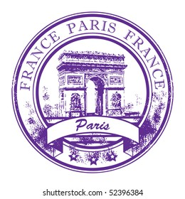 Grunge rubber stamp with Arch of Triumph and the word Paris, France inside, vector illustration