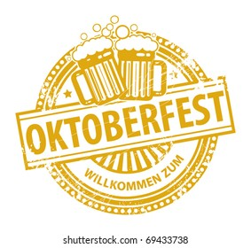 Grunge rubber stamp with beer mugs and the text Oktoberfest written inside the stamp, vector illustration