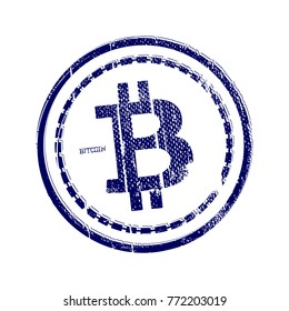 Grunge rubber stamp with the Bitcoin Symbol