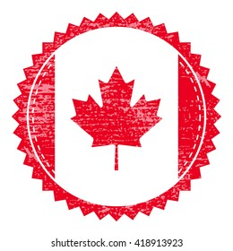 Grunge  rubber stamp with Canada flag. Vintage travel stamp