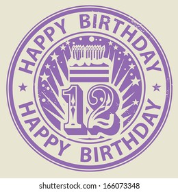 Grunge rubber stamp with candles, cake and the text Happy Birthday written inside the stamp, vector illustration