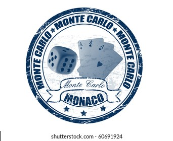 Grunge rubber stamp with cards, dice and the word Monte Carlo, Monaco written inside