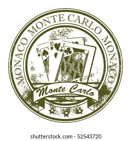 Grunge rubber stamp with cards and the word Monte Carlo, Monaco inside, vector illustration