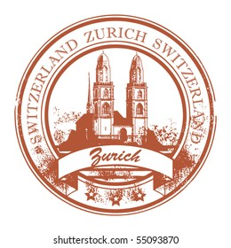 Grunge rubber stamp with Cathedral and the word Zurich, Switzerland inside, vector illustration