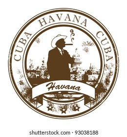Grunge rubber stamp with Cuba, Havana inside, vector illustration