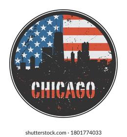 Grunge rubber stamp or emblem with name of Chicago, vector illustration