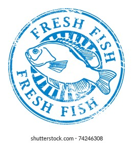 Grunge rubber stamp with fish shape and the word Fresh fish written inside, vector illustration