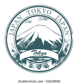 Grunge rubber stamp with Fudzi and the word Tokyo, Japan inside, vector illustration