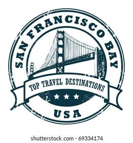 Grunge rubber stamp with the Golden Gate Bridge, vector illustration