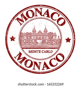 Grunge rubber stamp with the grand casino and the word Monaco inside, vector illustration