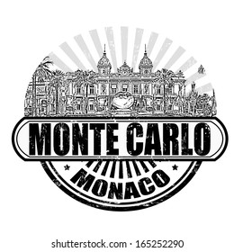 Grunge rubber stamp with the grand casino and the text Monte Carlo, Monaco inside, vector illustration