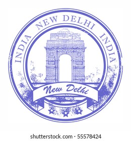 Grunge rubber stamp with India Gate and the word New Delhi, India inside, vector illustration