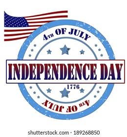 Grunge rubber stamp, label independence day, vector illustration