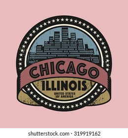 Grunge rubber stamp or label with name of Chicago, Illinois, vector illustration