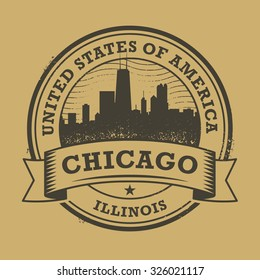 Grunge rubber stamp or label with name of Illinois, Chicago, vector illustration