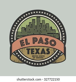 Grunge rubber stamp or label with name of El Paso, Texas, vector illustration