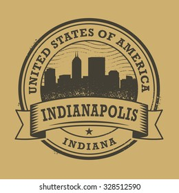 Grunge rubber stamp or label with name of Indianapolis, Indiana, vector illustration