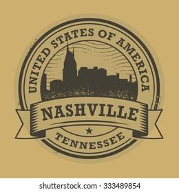 Grunge rubber stamp or label with name of Nashville, Tennessee, vector illustration
