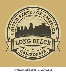 Grunge rubber stamp or label with name of Long Beach, California, vector illustration