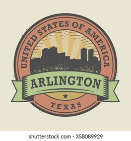 Grunge rubber stamp or label with name of Texas, Arlington, vector illustration