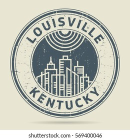 Grunge rubber stamp or label with text Louisville, Kentucky written inside, vector illustration