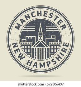 Grunge rubber stamp or label with text Manchester, New Hampshire written inside, vector illustration