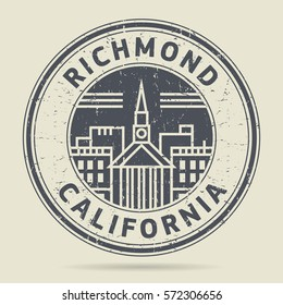 Grunge rubber stamp or label with text Richmond, California written inside, vector illustration