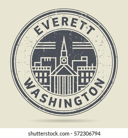 Grunge rubber stamp or label with text Everett, Washington written inside, vector illustration