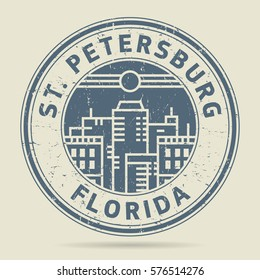 Grunge rubber stamp or label with text St. Petersburg, Florida written inside, vector illustration