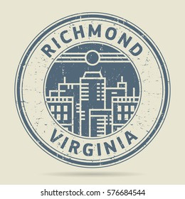 Grunge rubber stamp or label with text Richmond, Virginia written inside, vector illustration