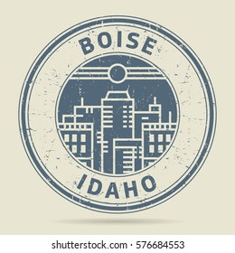 Grunge rubber stamp or label with text Boise, Idaho written inside, vector illustration