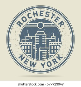 Grunge rubber stamp or label with text Rochester, New York written inside, vector illustration