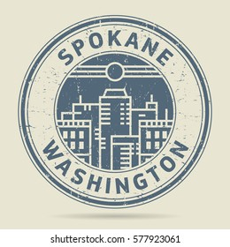 Grunge rubber stamp or label with text Spokane, Washington written inside, vector illustration