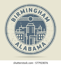 Grunge rubber stamp or label with text Birmingham, Alabama written inside, vector illustration