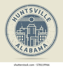 Grunge rubber stamp or label with text Huntsville, Alabama written inside, vector illustration