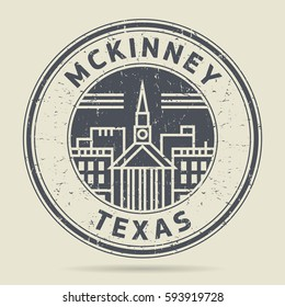 Grunge rubber stamp or label with text Mckinney, Texas written inside, vector illustration